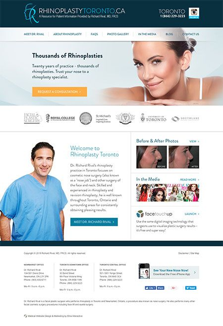 Screenshot of Dr. Rival's rhinoplasty website